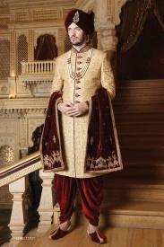 Golden Colour With Merun  Sherwani