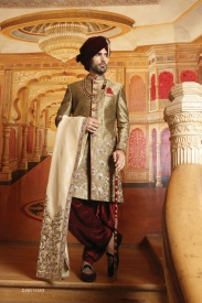 Dark Gold With Marun Designer Sherwani
