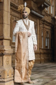 Off White With Cream Sherwani