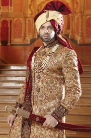 Golden With Merun Design Silk Sherwani