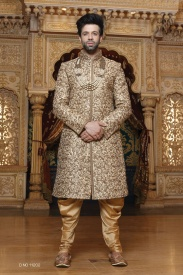 Dark Golden Silk Sherwani