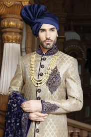 Blue with black Golden Silk Sherwani