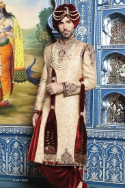 Golden Silk with merun Sherwani
