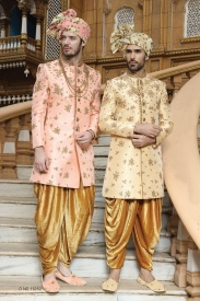 Pink & Yellow Shine Silk Sherwani