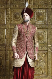 Merun jacket with Golden Sherwani