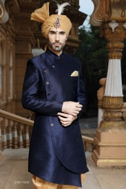 Navy Blue with beige sherwani
