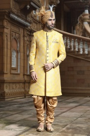Yellow with beige colour sherwani
