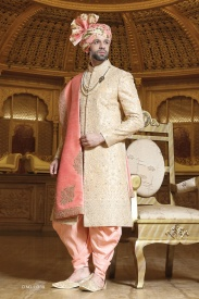 Light Pink With beige designer sherwani