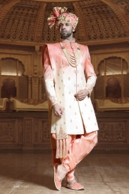 Cream With Light Pink Sherwani