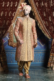 Beige Orange Sherwani