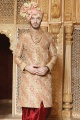 Golden Colour Silk Sherwani